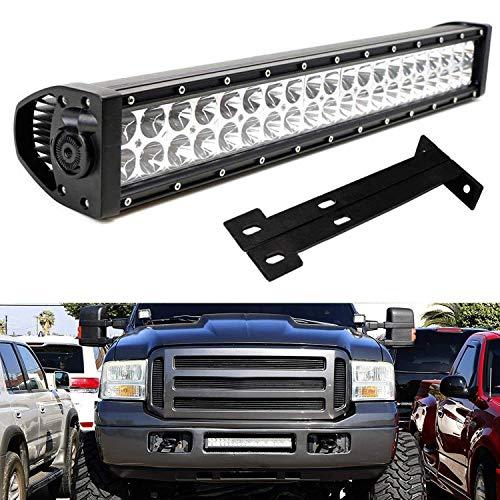 (iJDMTOY Lower Grille 20-Inch LED Light Bar Kit For 1999-2007 Ford F250 F350 Super Duty, Includes (1) 120W High Power LED Lightbar, Lower Bumper Opening Mounting Brackets & On/Off Switch Wiring Kit)