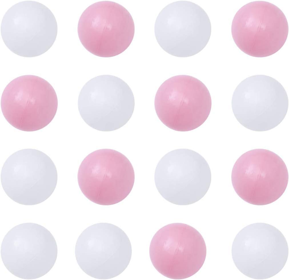 NUOBESTY 100 Piezas de Mini Bolas de Jugar a la Pelota de Juguete de plástico Bolas Piscina para niños bebés de los niños (Blanca y Rosa)