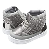 Bebe Kids Toddlers Girls Quilted High Top Sneakers With Metallic Shimmer Silver Size 11/12