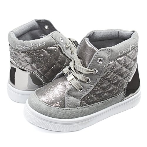 Bebe Kids Toddlers Girls Quilted High Top Sneakers With Metallic Shimmer Silver Size 11/12 by bebe