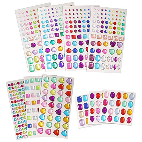 UPINS Self Adhesive Rhinestone Stickers Bling Craft Jewels Flat Back Crystal Gem Stickers, Assorted Sizes and Shapes, 10 Sheets (Multicolor)