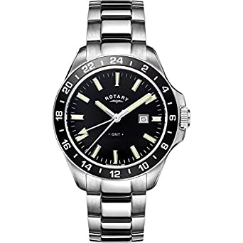 gents mens stainless steel rotary gmt quartz battery watch on gents mens stainless steel rotary gmt quartz battery watch on bracelet dual time day