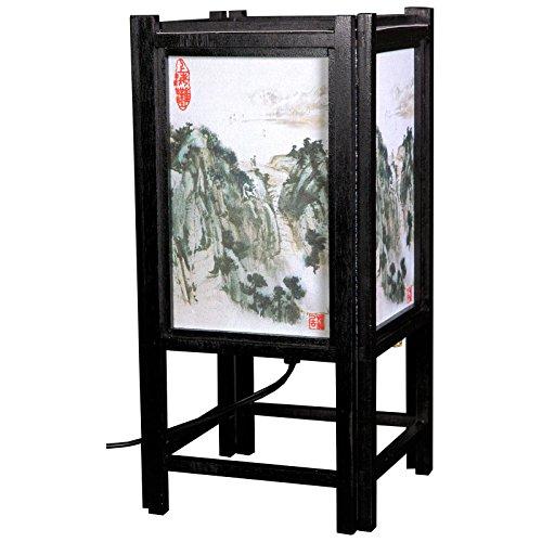 OKSLO Oriental Furniture Art Shoji Lamp with Landscape