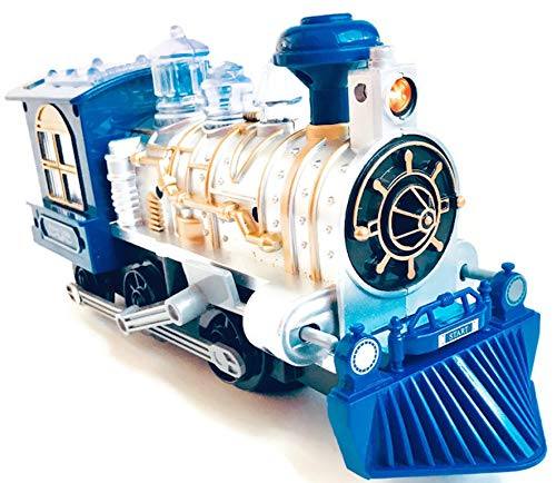 (High Speed Train Car Light with Sound Siren, Bump and Go Turn Action for Boys and Girls (Blue) Classic Steam Train Toy Design for Railroad Playing with Locomotive Engine Automatic Change of Direction)