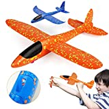 VCOSTORE Throwing Foam Slingshot Glider Plane, Upgrade 3.0 Version Manual Inertia Airplane Durable Aircraft for Kids Outdoor Sport Toys or Gift 2pcs(Blue&Orange)