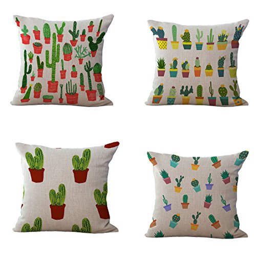 set-of-4-throw-pillow-covers-yifan-tropical-cactus-plants-pattern-polyester-ramie-square-pillow-cove