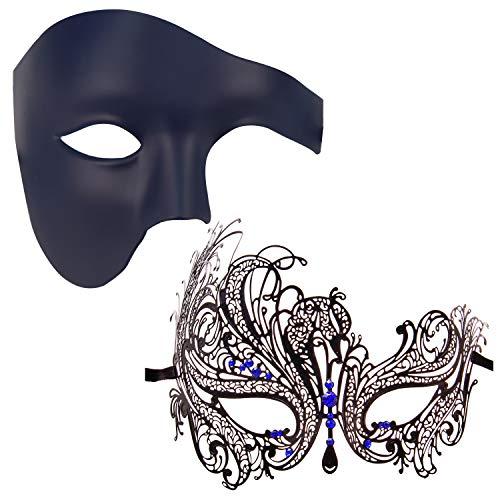 Couples Masquerade Mask Mardi Gras Mask Christmas Venetian Cosplay Costume Halloween Party Mask Set -