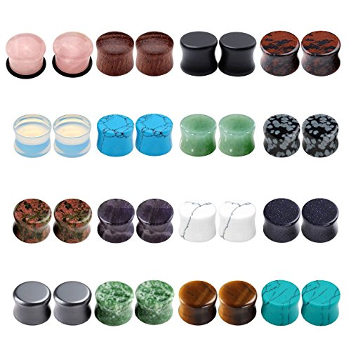 Jovivi 16 Pairs Mixed Natural Semi-Precious Stone Wood/Flared Saddle Plug Tunnels Ear Expander Stretcher Set Ear Gauges Kit 1/2