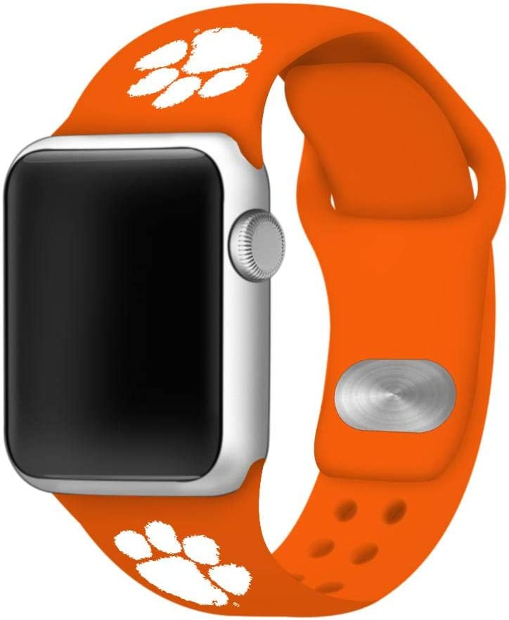 AFFINITY BANDS Clemson Tigers Silicone Sport Watch Band Compatible with Apple Watch (42mm/44mm - Orange)