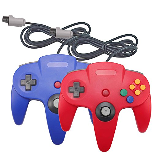 Joxde 2 Packs Upgraded Joystick Classic Wired Controllers for N64 Gamepad Console (Red and Blue1)