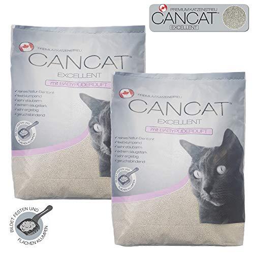 CANCAT 2×15 kg Excellent kanadische Premium Katzenstreu Klumpstreu Babypuderduft