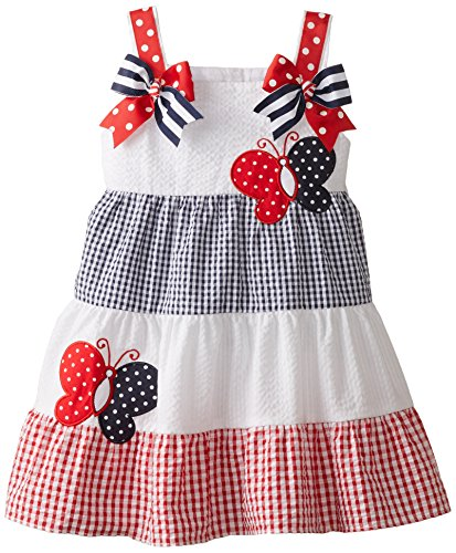 Rare Editions Little Girls' Colorblock Seersucker Dress with Butterfly Appliques, Red/White/Navy, 5
