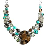 Genuine Earth Stone Necklace Ammonite Turquoise Green Amethyst Pyrite Smoky Quartz & Fossil Necklace