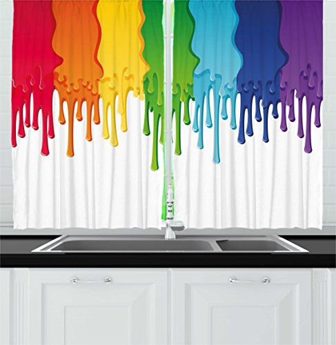 Ambesonne Abstract Kitchen Curtains, Rainbow Colored Paint with Leaking Splattered Drops Creative Artsy Graphic Design, Window Drapes 2 Panels Set for Kitchen Cafe, 55 W X 39 L Inches, Multicolor Review