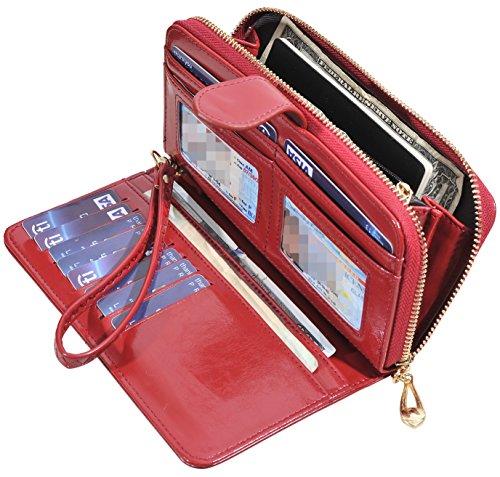 RFID Blocking Womens Ladies Wallet Leather Long Zip Clutch Purse Card Holder (Wine Red)