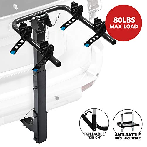 LITE-WAY 2-Bike Bicycle Hitch Mount Carrier Rack - Heavy Duty Bicycle Carrier Fit Most Sedans, Hatchbacks, Minivans, SUV (2 Inch Receiver), 1 Year Warranty