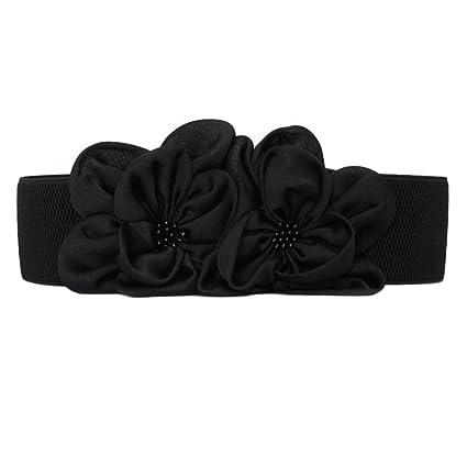 YXLMZ Cinturón de Mujer Piel Cinturón Ancho Elástico Cristal Decoración  Nupcial Boda Negro a06b7e6eda9f