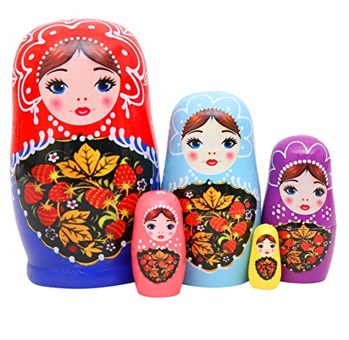 Debbieicy 5Pcs Beautiful Handmade Wooden Russian Nesting Dolls Red&Blue Princess Matryoshka Dolls Gift- Stacking Doll Set of 5 from 4.3
