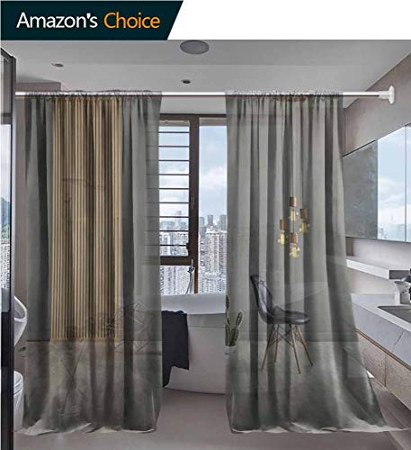 Drape/Panels/Treatment Beautiful Sheer Curtains, Lamp Textured Wood Laminate Flooring Printing, Voile Window Elegance Curtains for Bedroom & Kitchen, 52 x 108 Inch/Panel (Professional Sebastian Sheer Laminates)