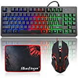 RGB 87 Keys Gaming Keyboard and Backlit Mouse Combo,BlueFinger USB Wired Rainbow Keyboard,Gaming Keyboard Set for PC Computer Game and Work