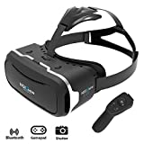 Virtual Reality Headset by NSInew - Wider FOV VR Headset or 3D VR Glasses for Games - Ventilation Holes&Independently Adjustable HD Lenses - Ergonomic Head Strap - Includes Bluetooth Remote