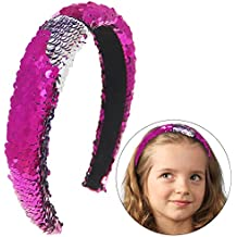 Basumee Mermaid Sequin Headband, Magic Reversible Sequins Padded Alice Hair Band for Girls and Women (Fuchsia and Silver)