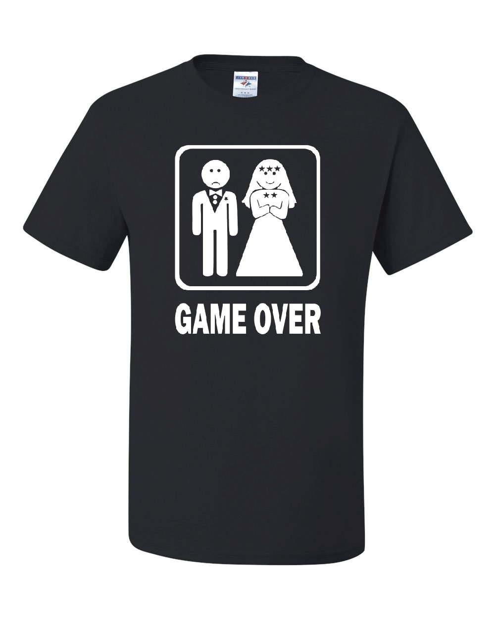 Game Over Funny T-Shirt Groom And Bride Wedding Tee Shirt Black 4XL