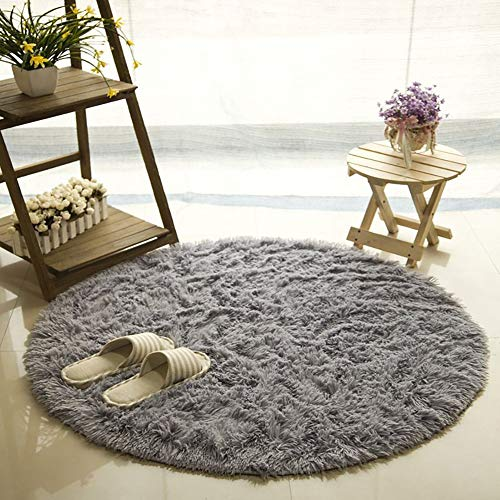 YOH Super Soft Fluffy Round Nursery Rug From Grey Rugs for Bedroom Home Area Decor Round (4' Diameter) from YOH