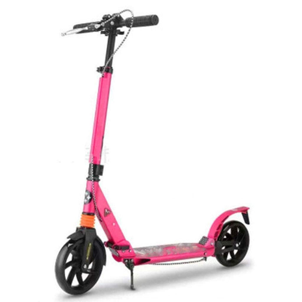 FDSjd Adult Scooter Hand Brake Double Shock Absorption Two-Wheel Folding Aluminum Alloy Two-Wheeled Scooter (Color : Pink)