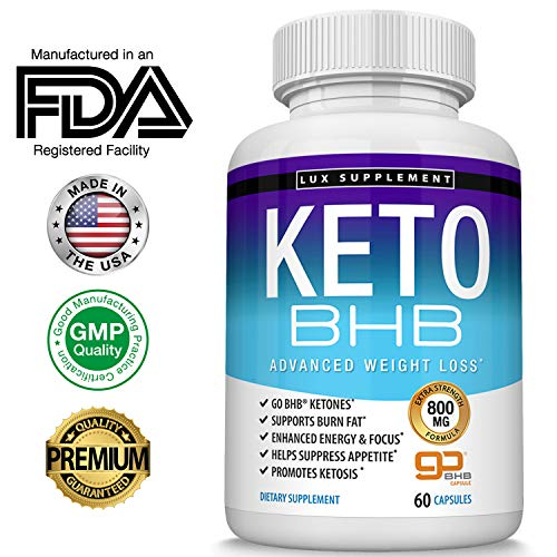 Keto Pills Advanced Weight Loss BHB Salt - Natural Ketosis Fat Burner Using Ketone & Ketogenic Diet, Boost Energy While Burning Fat, Fast & Effective Perfect for Men Women, 60 Capsules, Lux Supplement (2019 Best Fat Burner)