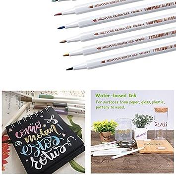 Set of 10 Metallic Markers Glitter Paint Pen Calligraphy Brush Pens for DIY Arts
