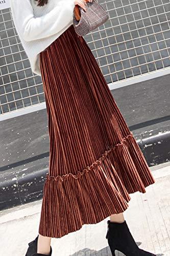 Velours Haute Hiver Taille Brown des des Midi lgant Jupes Plisse Jupe Femmes Fasumava qwgxXpTp