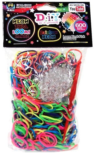 D.I.Y. Do it Yourself Bracelet Zupa Loomi Bandz 600 Neon Rainbow Rubber Bands with 'S' - Banz It