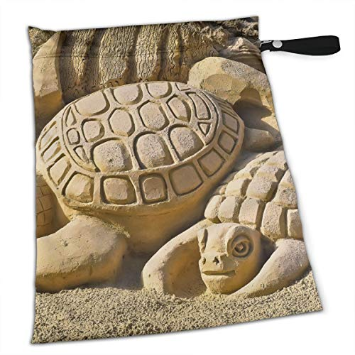 Simple Turtle Sand Sculpture Waterproof Reusable Snack Bag Large Capacity