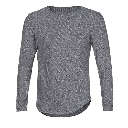 iLXHD Men's Slim Fit O Neck Long Sleeve Muscle Tee T-Shirt Casual Tops Blouse(Deep Gray,XL)