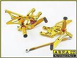 Area 22 Adjustable Rear Sets for Kawasaki ZX-10R 04-05 Gold rearset