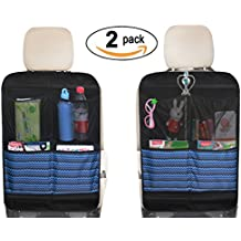 Kick Mat Seat Back Protectors with 4 Large Organizer Pockets Seat Covers For Car BackSeat, 2 Pack (Black)