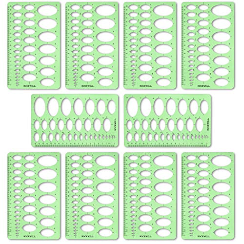 Ellipse Drafting Templates - Rockwell Galleries Oval or Ellipse Template 10 Pack for Drawing, Drafting and Creating