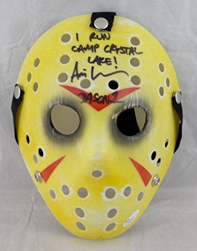 Ari Lehman Signed Friday The 13th Yellow Jason Mask W/ I Run Crystal Lake JSA Auth