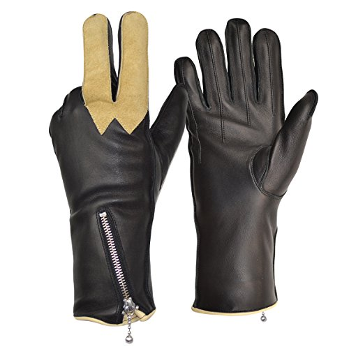 Goldtop Churchills 1970s Style Fleece Lined Leather Cafe Racer Motorcycle Gloves with Chamois Visor Wipe (XL - 9