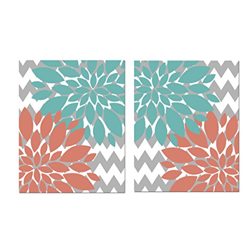 (Turquoise and Coral Flowers with gray Chevron Floral Design Prints - Set of 2 ((UNFRAMED)))