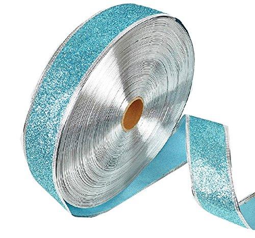 Vi.yo Christmas Ribbon Wrap for Holiday Gift Wrapping Card Making Wedding Home Decor DIY Craft(Light Blue) 200x5 CM