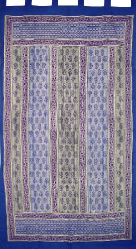 Printed Tab Top Curtain Drape Panel Cotton 44″ x 88″ Royal Blue