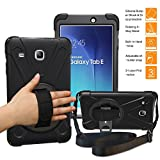 BRAECNstock Samsung Galaxy Tab E 8.0 T377 Case, Armor Rugged Sturdy Shockproof Heavy Duty Durable Protective Cover with Stand/Hand Strap/Shoulder Strap for SM-T377A/ SM-T377V/ SM-T377P/ Black