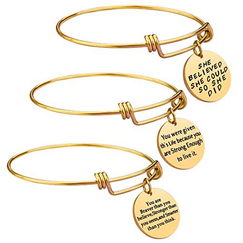 Birthday Gifts for Women Girls - 3PCS Stainless Steel Inspirational Charm Bracelets Jewelry Set Motivational Expendable Bangles Anniversary Gift Ideas (Gold)