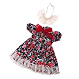 MagiDeal Handmade Lovely And Beautiful Floral Dress With Headwear For 1/4 BJD Dolls