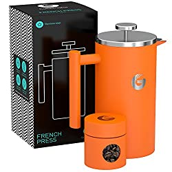 Coffee Gator French Press Coffee Maker – Thermal Insulated Brewer Plus Travel Jar – Large Capacity, Double Wall…