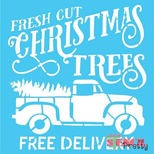 "Fresh Cut Christmas Trees Stencil - DIY Holiday Decor - XS (10.5"" x 11"")"