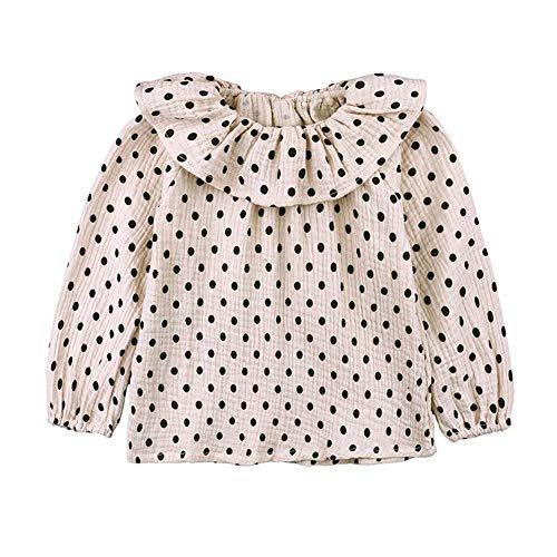 Blend Blouse (Little Girls Blouse Cotton Linen Blend Long Sleeve Lotus Leaf Collar 1-5 Years (White, 90 (12-24 Months)))