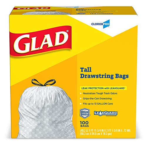 - Glad Tall Kitchen Drawstring CloroxPro Trash Bags - 13 Gallon - 100 Count (Packaging May Vary)